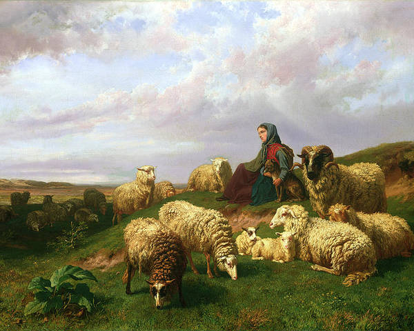 Shepherdess Poster featuring the painting Shepherdess Resting With Her Flock by Edmond Jean-Baptiste Tschaggeny