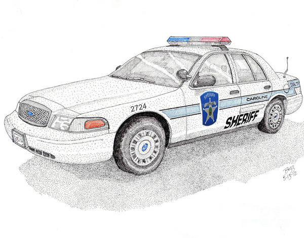 Police Poster featuring the drawing Sheriff Car 2724 by Calvert Koerber