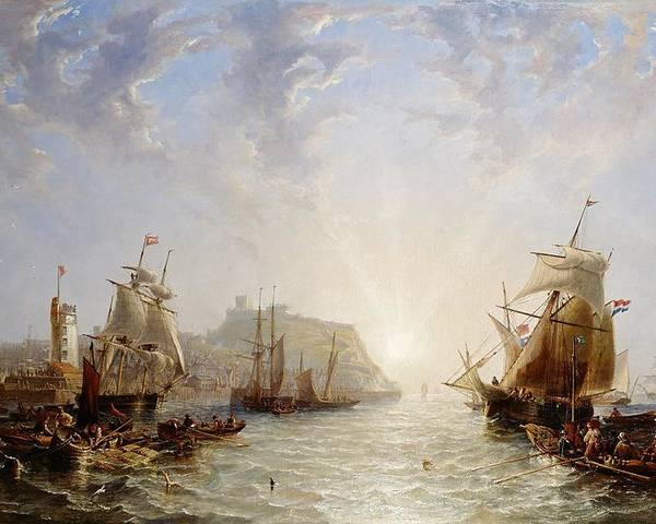 Ships; Sailing Boats; Coastal; Coast; Harbour; Port; Rowing Boat; Naval; Navy; Tower Poster featuring the painting Shipping Off Scarborough by John Wilson Carmichael