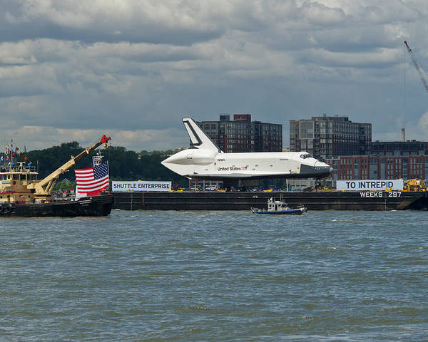 Space Shuttle Poster featuring the photograph Shuttle Enterprise Flag Escort by Gary Eason