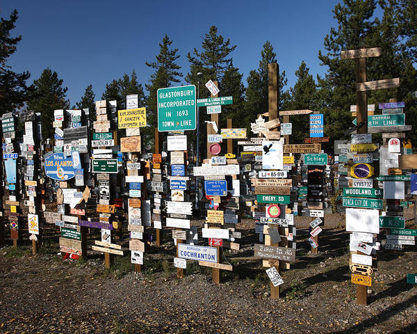 Signs Poster featuring the digital art Sign Posts Forest In Watson Lake Yukon by Mark Duffy