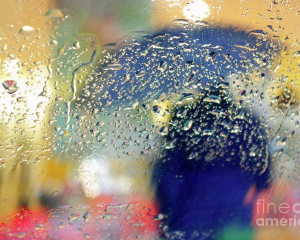 Abstract Poster featuring the photograph Silhouette In The Rain by Carlos Caetano