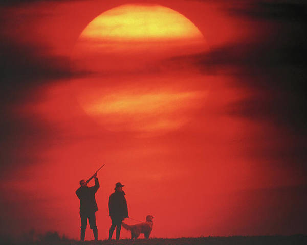 Adults Only Poster featuring the photograph Silhouette Of Couple With Dog, Man Aiming, Sunset by David De Lossy