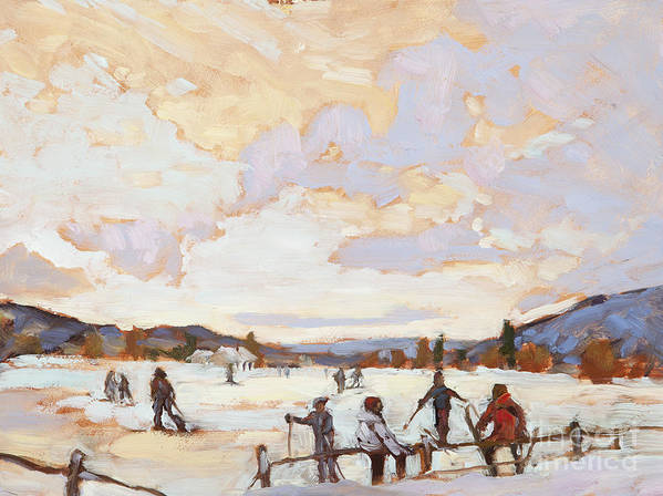 Kids Poster featuring the painting Ski Day by Chula Beauregard