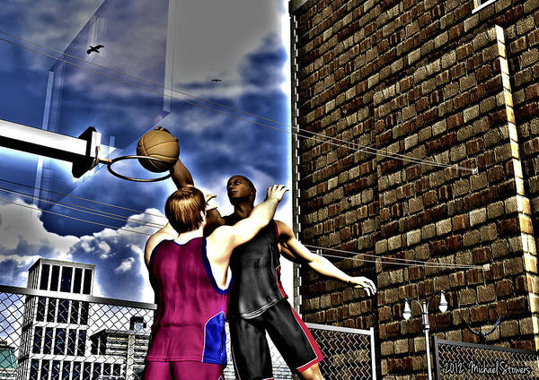 Basketball Poster featuring the digital art Slammed by Michael Stowers