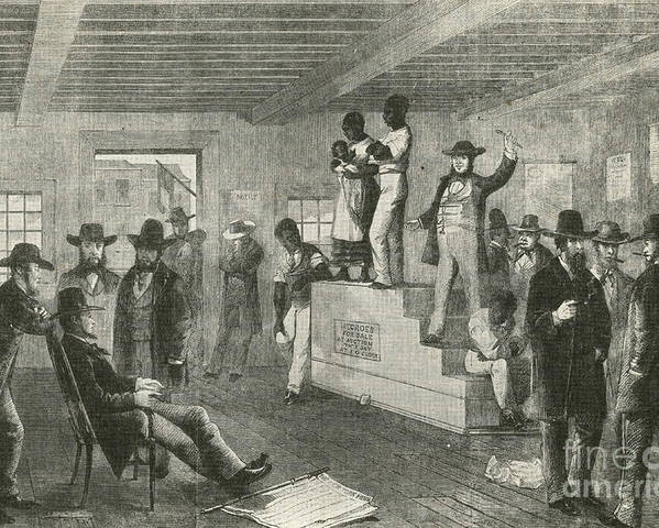 America Poster featuring the photograph Slave Auction, 1861 by Photo Researchers