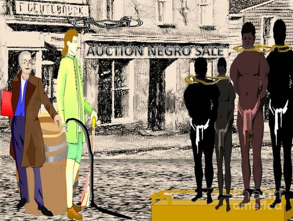 Black History Poster featuring the digital art Slave Auction by Belinda Threeths