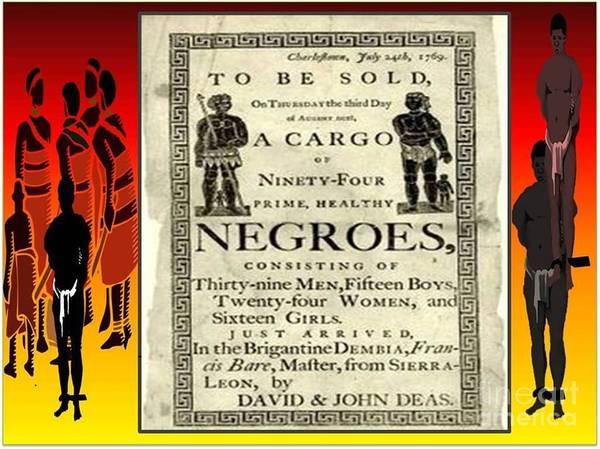 Black History Poster featuring the digital art Slave Sale by Belinda Threeths