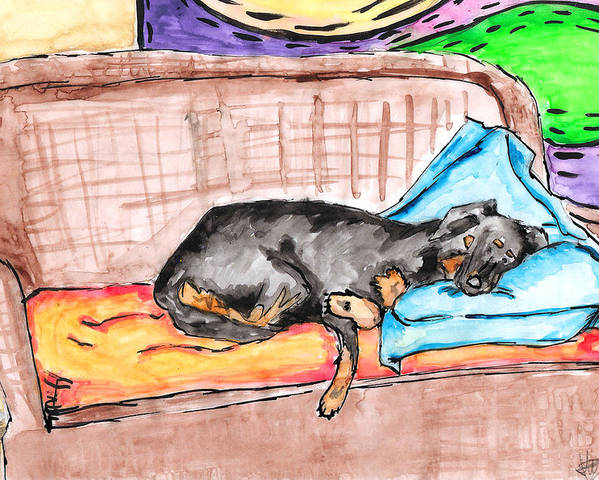 Sleeping Poster featuring the painting Sleeping Rottweiler Dog by Jera Sky