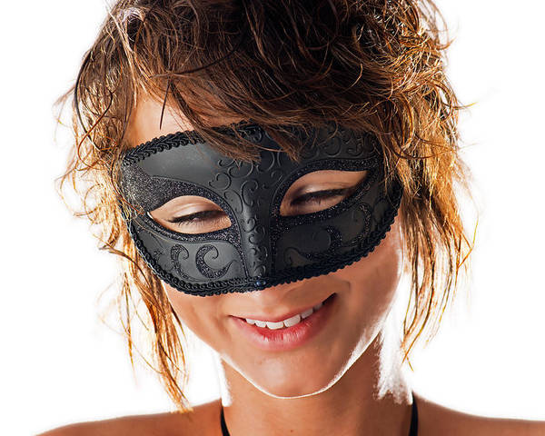 Beautiful Woman Poster featuring the photograph Smiling Mask by Jim Boardman