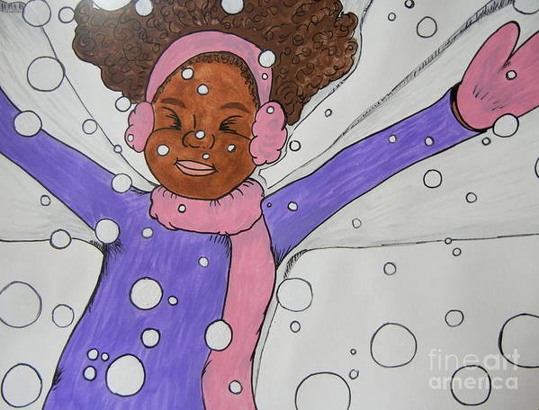 Girl Poster featuring the painting Snow Angel by Anastasia Ely