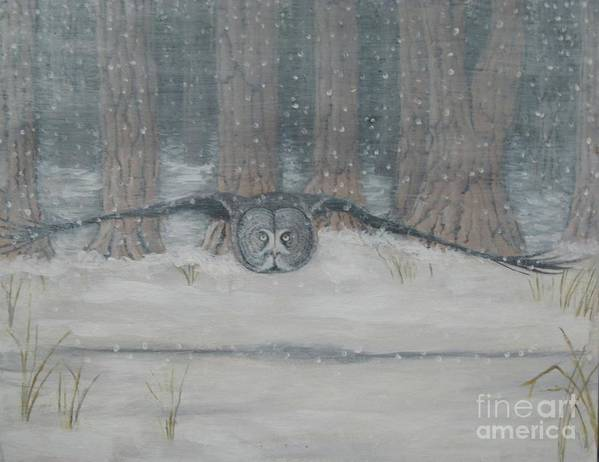 Owl Poster featuring the painting Snow Hunter- Great Gray Owl by Max Teasdale