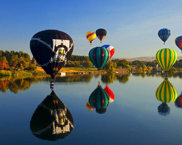 Balloons Poster featuring the photograph Soft Landings by Mike Dawson
