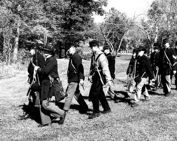Usa Poster featuring the photograph Soldiers March Black And White II by LeeAnn McLaneGoetz McLaneGoetzStudioLLCcom