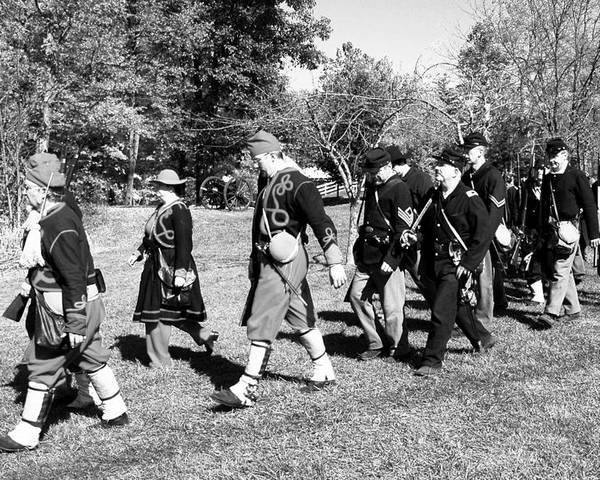 Usa Poster featuring the photograph Soldiers March Black And White IIi by LeeAnn McLaneGoetz McLaneGoetzStudioLLCcom