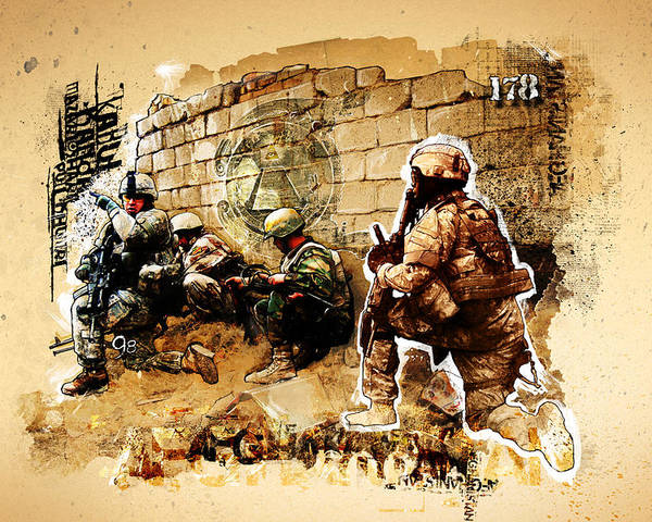 War Poster featuring the photograph Soldiers On The Wall by Jeff Steed