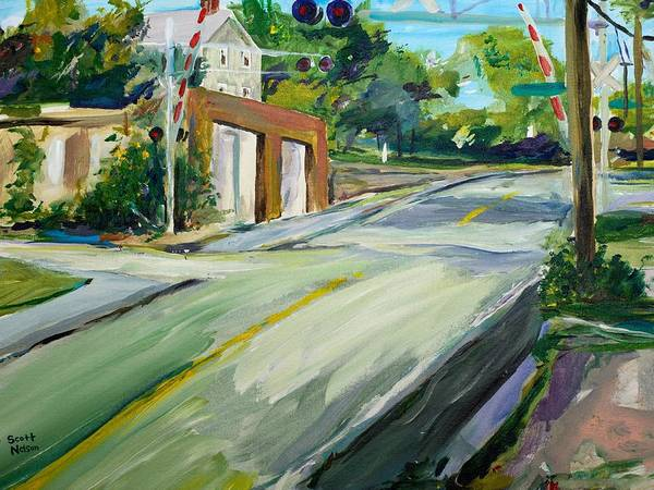 Millbury Poster featuring the painting South Main Street Train Crossing by Scott Nelson