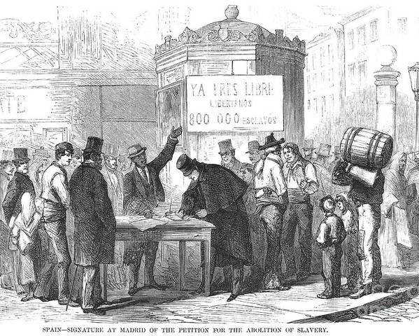 1869 Poster featuring the photograph Spain: Abolitionists, 1869 by Granger