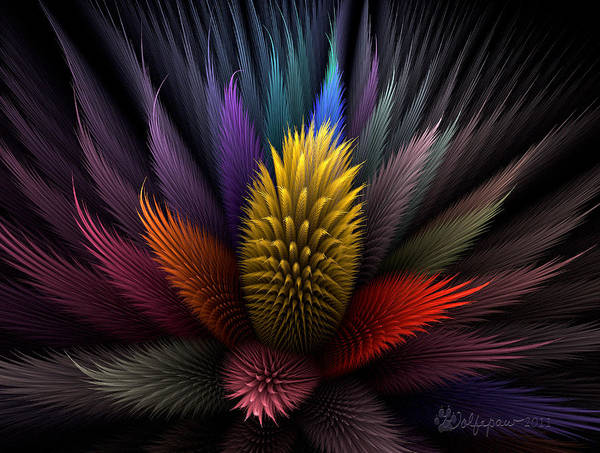 Abstract Poster featuring the digital art Spiky Botanical by Peggi Wolfe