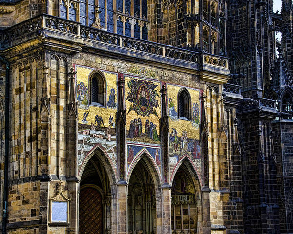 St Vitus Cathedral Poster featuring the photograph St Vitus Cathedral Entrance by Jon Berghoff