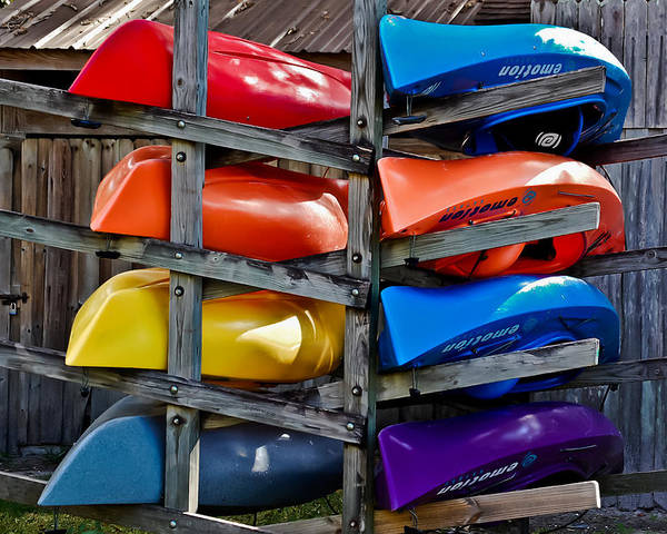 Kayaks Poster featuring the photograph Stacked Emotions by DigiArt Diaries by Vicky B Fuller