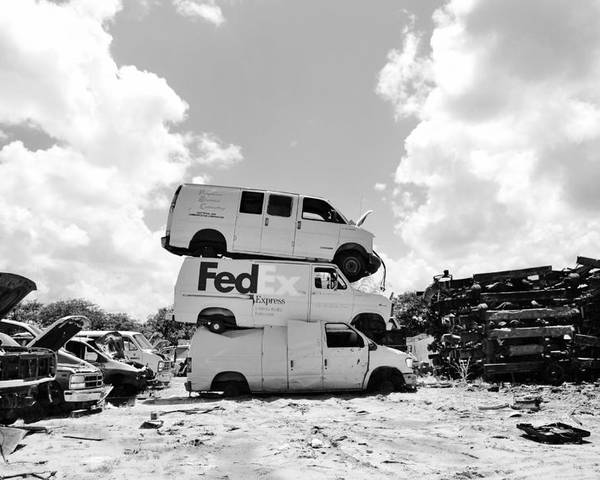 Junkyard Poster featuring the photograph Stacked Junk Bw by Lynda Dawson-Youngclaus