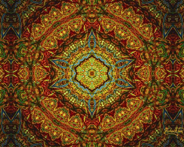 Mandala Byzantine-style Multi-colored-tan-brown Base Poster featuring the mixed media Stained Glass Gas Ring Mandala by Richard Jones
