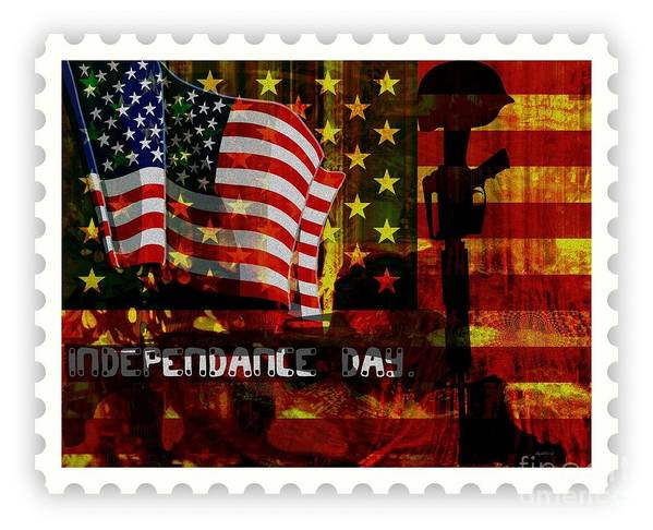Fania Simon Poster featuring the mixed media Stamp Your Freedom by Fania Simon