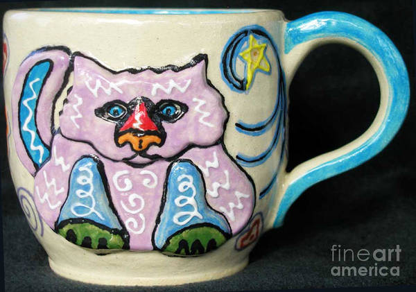 Cat Poster featuring the ceramic art Star Kitty Mug by Joyce Jackson