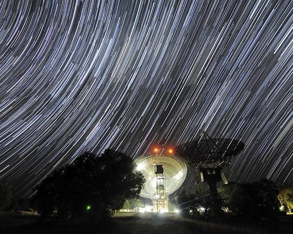 Star Poster featuring the photograph Star Trails Over Parkes Observatory by Alex Cherney, Terrastro.com