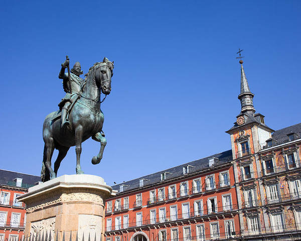 Madrid Poster featuring the photograph Statue Of King Philip IIi At Plaza Mayor by Artur Bogacki