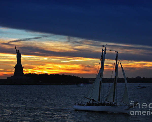 Statue Of Liberty Poster featuring the photograph Statue Of Liberty At Sunset by Nishanth Gopinathan