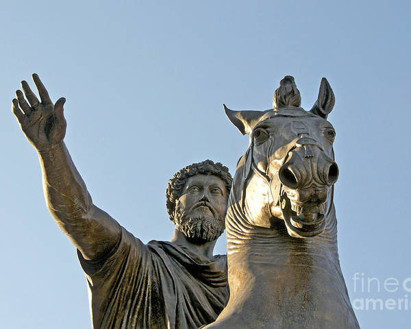 Views Poster featuring the photograph Statue Of Marcus Aurelius On Capitoline Hill Rome Lazio Italy by Bernard Jaubert