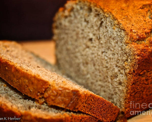 Food Poster featuring the photograph Steamy Fresh Banana Bread by Susan Herber