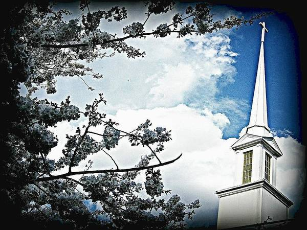 Church Poster featuring the photograph Steeple In The Sky by Vickie Beasley