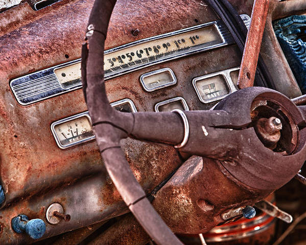 Cheyenne Poster featuring the photograph Steering Wheel by Richard Steinberger