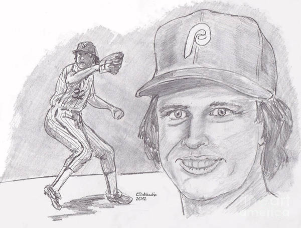 Phillies Poster featuring the drawing Steve Carlton- Lefty by Chris DelVecchio