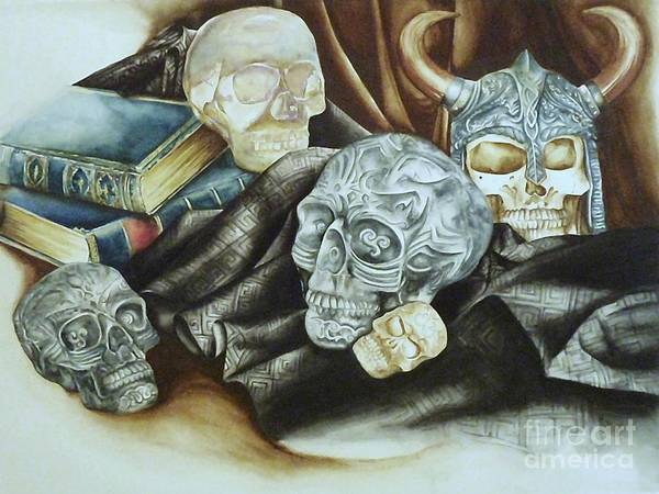 Skulls Poster featuring the painting Still Life With Skulls by Elizabeth York