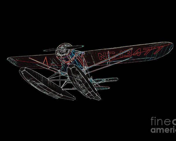 933 Poster featuring the digital art Stinson Sr Reliant Float Plane by John Gaffen