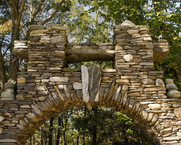Gillette Castle State Park Poster featuring the photograph Stone Archway At The Entrance by Todd Gipstein