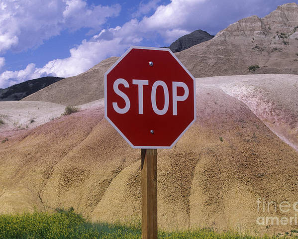 Arid Poster featuring the photograph Stop Sign In South Dakota Badlands by Will & Deni McIntyre