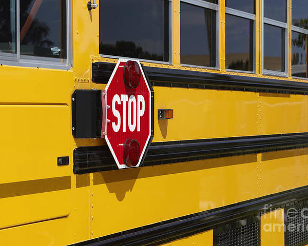 Bus Poster featuring the photograph Stop Sign On A School Bus by Skip Nall