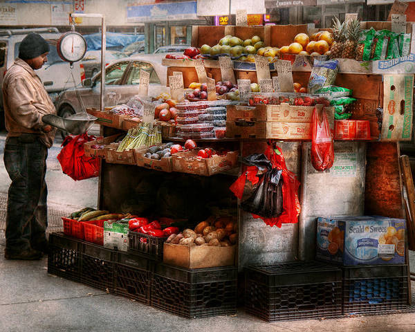 Chelsea Poster featuring the photograph Store - Ny - Chelsea - Fresh Fruit Stand by Mike Savad