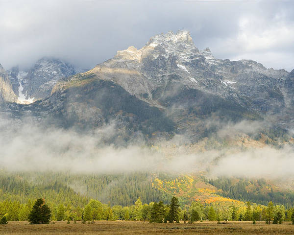 Grand Teton Poster featuring the photograph Storm On Grand Teton by Sandra Bronstein
