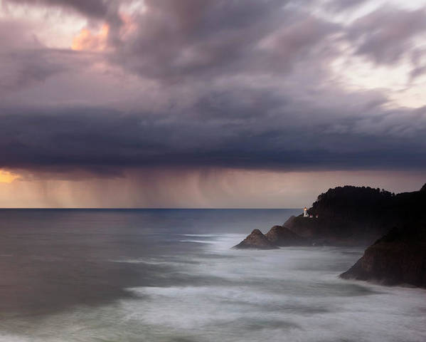 Light House Poster featuring the photograph Storm Over Heceta Head by Keith Kapple