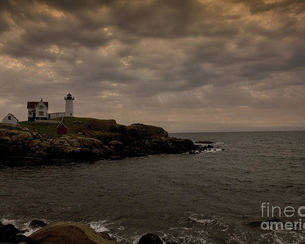 Cape Neddick Poster featuring the photograph Stormy Nubble by Timothy Johnson