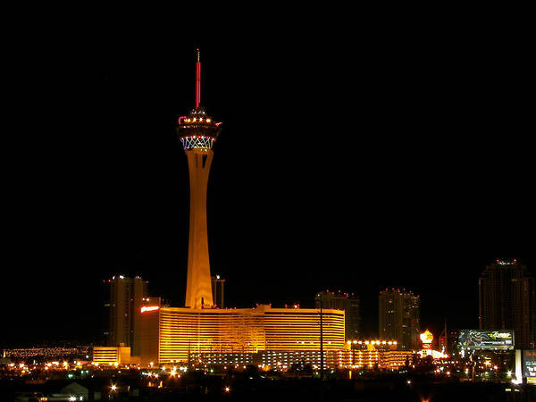 Stratosphere Poster featuring the photograph Stratosphere At Night by John Cobb