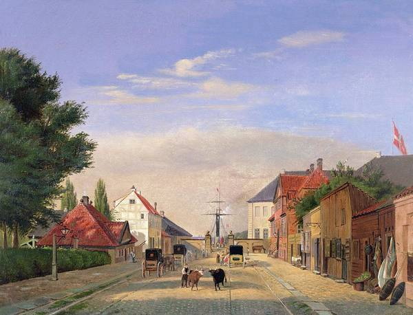 Harbour; Shop; Carriage; Cattle Poster featuring the painting Street Scene by Danish School