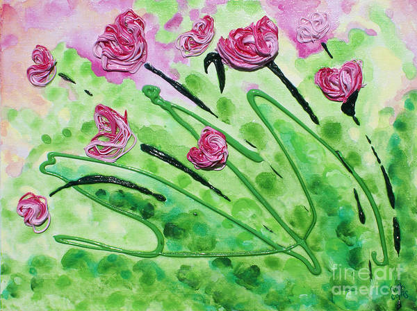 Thick Paint Poster featuring the painting Stringy Tulips by Ruth Collis