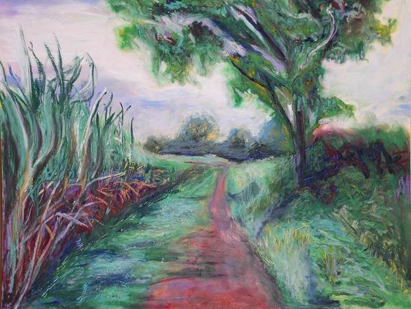 Landscape Poster featuring the painting Sugar Cane Field by Kennedy Paizs